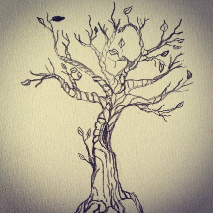 Drawing of a twisted old tree.